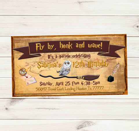 Harry Potter White Owl Broom Drive By Birthday Party Parade Facebook Invites