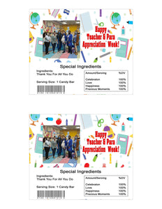 Teacher and Para Appreciation Week Photo Hershey Bar Labels 1.45oz (41g) - Printed or Instant Download
