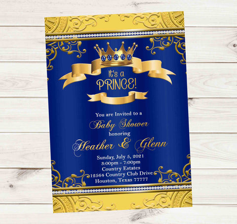 Its a Prince Royal Blue and Gold Baby Shower Announcement Invitation