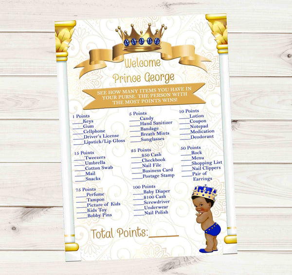 "Its a Prince Royal Blue and Gold What in your Purse Baby Shower Game 5"" x 7 """