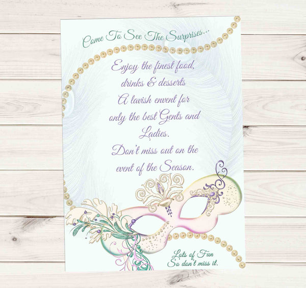 Masquerade Ball Mardi Carnival Gras Pastel Mask Pearls and Peacock Feathers Invitation 1 - Custom Order