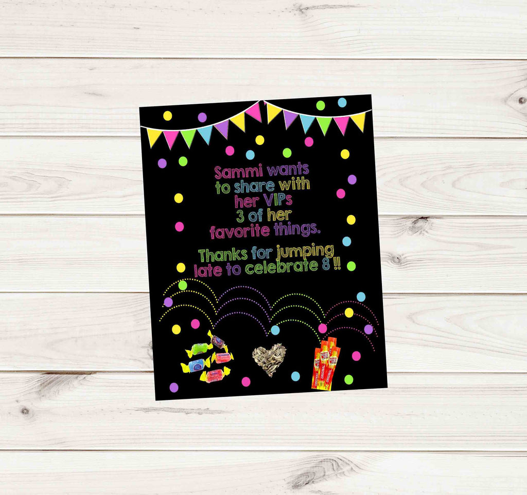 "Jumping Confetti Custom Birthday Thank You Card 3.75"" x 4.75"" - Custom Printable - Invites and Delites"