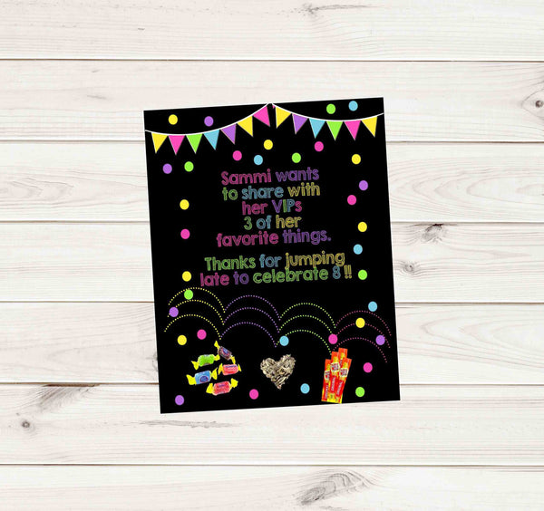 "Jumping Confetti Custom Birthday Thank You Card 3.75"" x 4.75"" - Custom Printable"