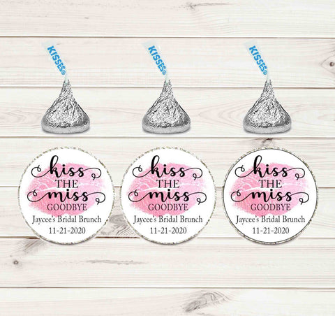 "Kiss The Miss Goodbye with Wedding or Shower With A Date 1"" labels - Printed or File"