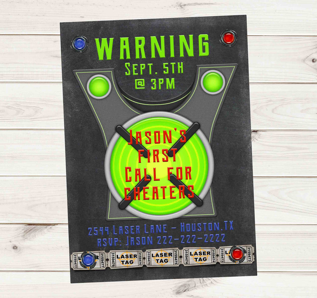 Laser Tag Birthday Party Event Invitation - Custom Order