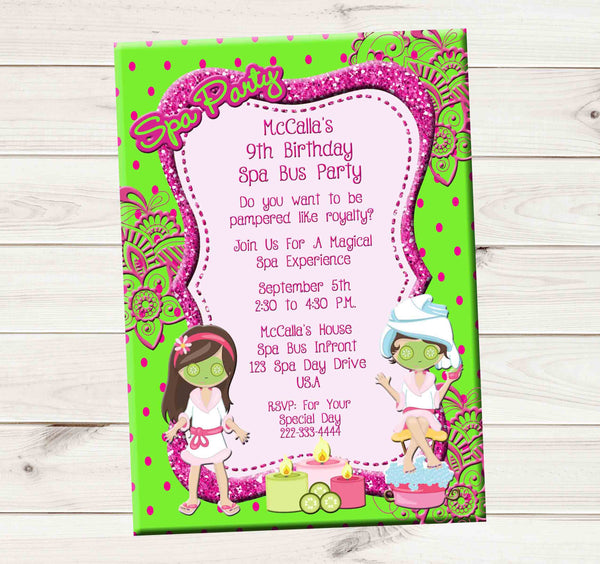 Spa Bus Primp and Polish Spa Party Candles Girls Birthday Invitation - Custom Printable