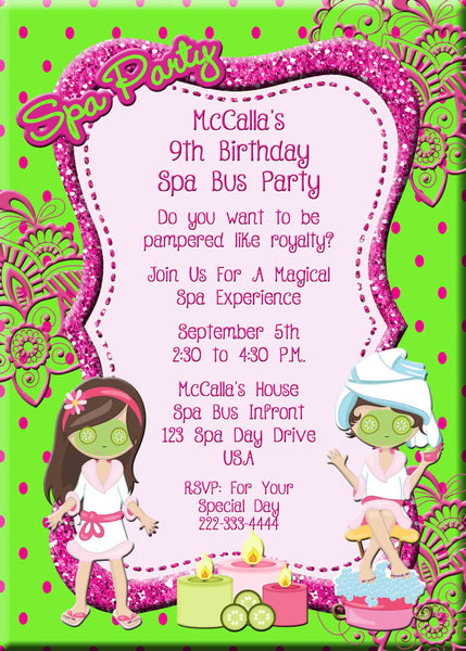 Spa Bus Primp and Polish Spa Party Candles Girls Birthday Invitation - Custom Printable - Invites and Delites