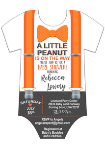 Little Peanut Onsie with Suspenders Orange Grey and White Baby Shower Invitation