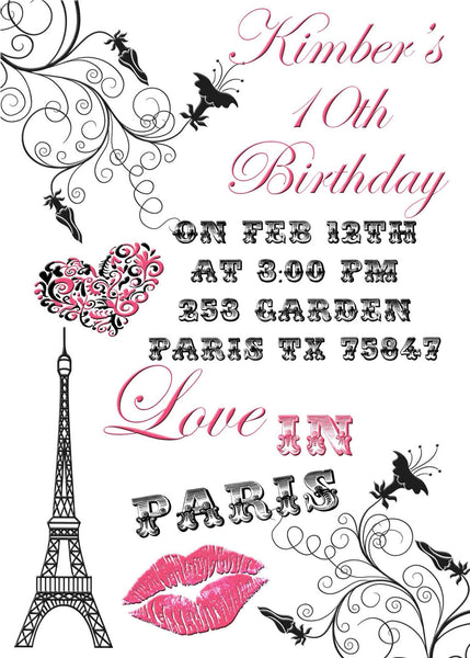 Paris Filigree Eiffel Tower Love with Pink Lips Birthday Invitation - Custom Order - Invites and Delites