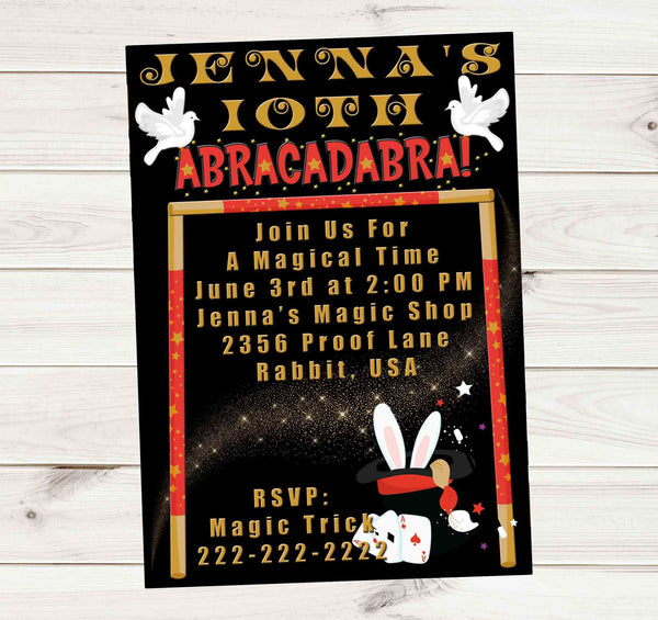 Magician Abracadabra Magical Gold Dust Birthday Party Invitation - Custom Order - Invites and Delites