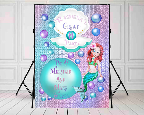 Shimmering Mermaid Birthday Backdrop 10ft x 10ft File or Printed Banner  - Free Shipping