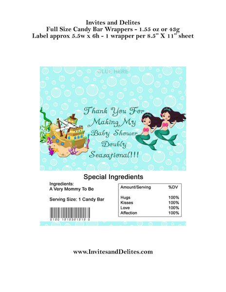 Mermaid Baby Shower Twins Candy 1.55oz 43g Label Wrappers - Instant Printable - Invites and Delites