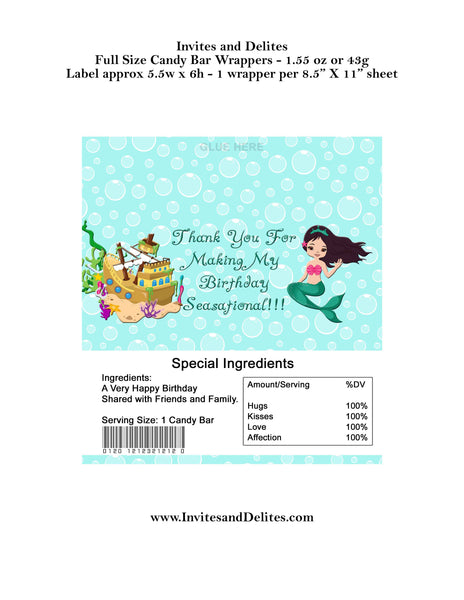 Mermaid Birthday Candy Bar Labels for 1.55oz 43g Label Wrappers - Instant Printable - Invites and Delites