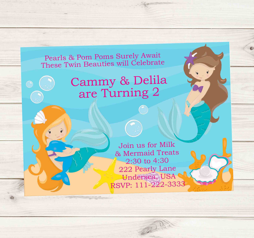 Mermaid Birthday Invitations with Long Hair Red Head Brunette Mermaids - Custom Order - Invites and Delites
