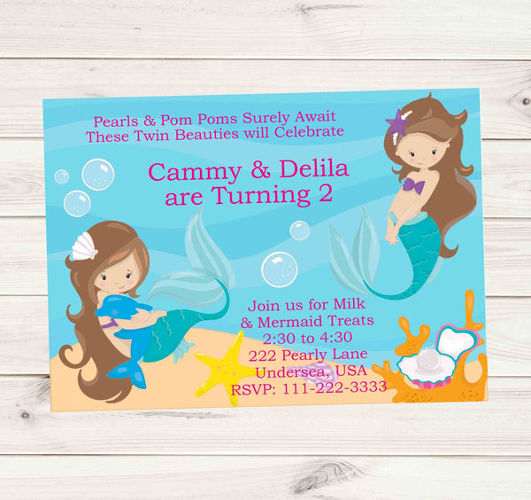 Mermaid Birthday Invitations with Long Hair Brunette Mermaids - Custom Order - Invites and Delites