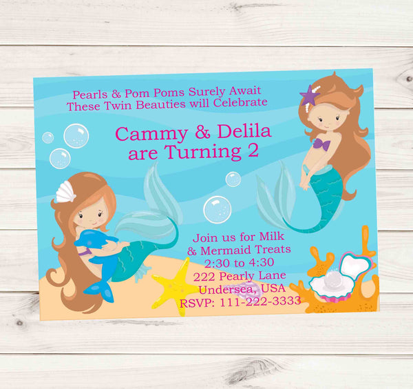 Mermaid Birthday Invitations with Long Hair Dark Red Head Mermaids - Custom Order - Invites and Delites