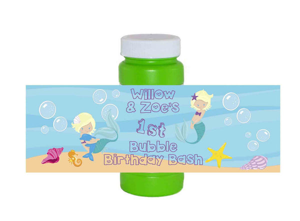 Mermaid Bubbles Ocean Short Hair Blonde Bubble Bottle Labels - Custom Order - Invites and Delites