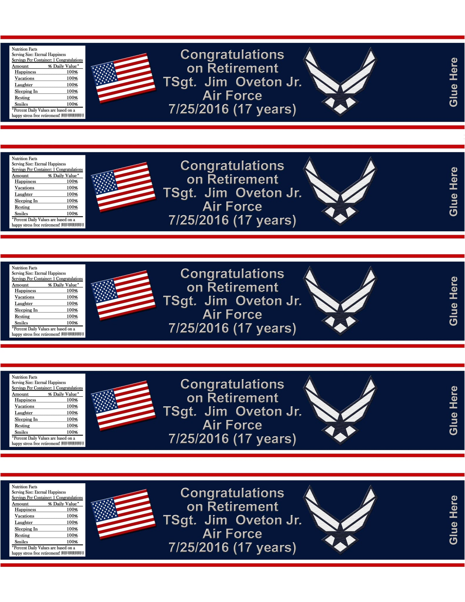 Air Force Military USAF Retirement With Information on Water Bottle Labels - Printed or File