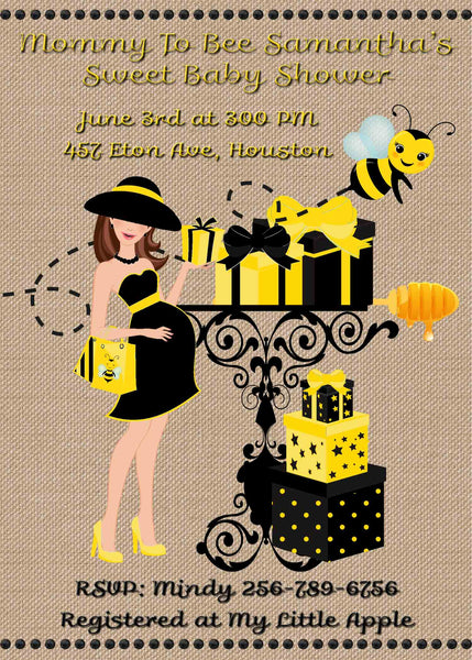 Mom to Bee Bumble Bee Brunette Baby Shower Invitation - Printed or File
