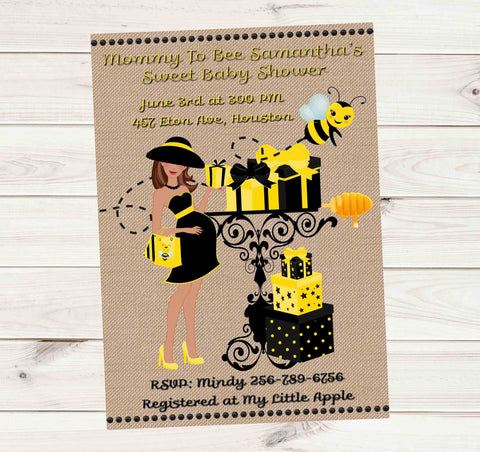 Mom to Bee Bumble Bee Hispanic Baby Shower Invitation - Printed or File