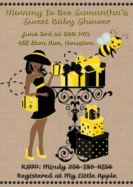 Mom to Bee Baby African American Baby Shower Invite - Printed or File
