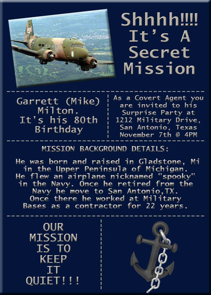 Navy Military USN with Anchor Birthday Party Secret Mission Invitation with Plane - Custom Printable