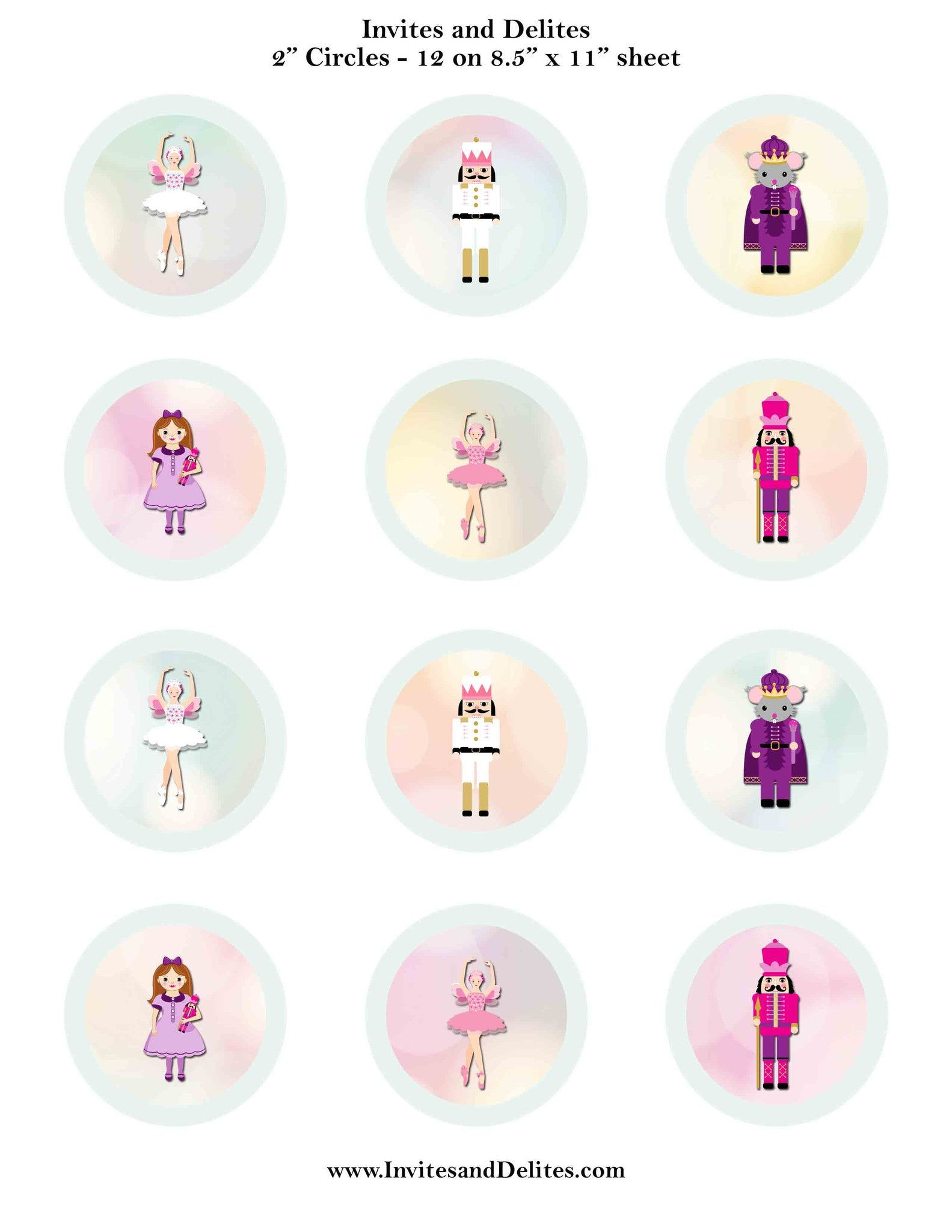 "Nutcracker Suite Characters Light Green 2"" Printable Sticker Labels - Instant Download - Invites and Delites"