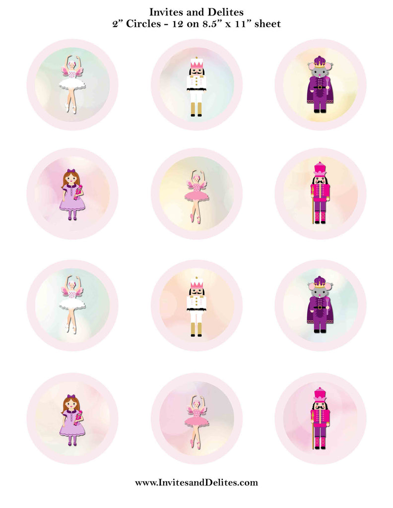 "Nutcracker Suite Characters Light Pink 2"" Printable Sticker Labels - Instant Download"