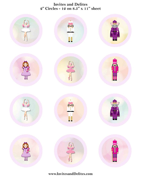 "Nutcracker Suite Characters Light Purple 2"" Printable Sticker Labels - Instant Download - Invites and Delites"