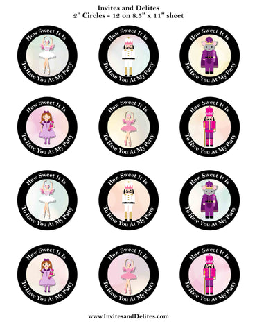 "Nutcracker Suite Characters How Sweet It Is Black 2"" Printable Sticker Labels - Instant Download - Invites and Delites"