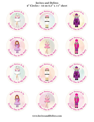 "Nutcracker Suite Characters How Sweet It Is Ivory 2"" Printable Sticker Labels - Instant Download - Invites and Delites"