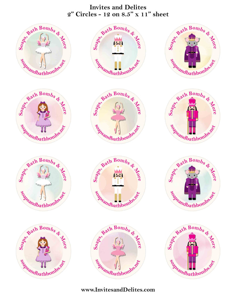 "Nutcracker Suite Characters Ivory Personalized 2"" Printable Sticker Labels - Custom Order"
