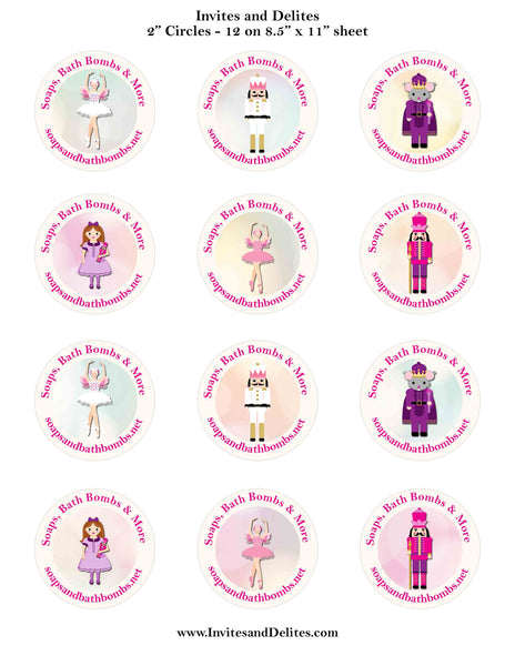 "Nutcracker Suite Characters Ivory Personalized 2"" Printable Sticker Labels - Custom Order - Invites and Delites"