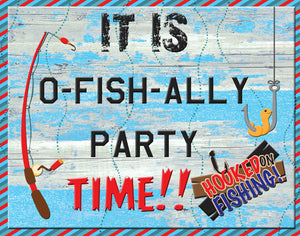 Its O-Fish-ally Party Time Sign Instant Download 14 x 11 - Instant Printable Download - Invites and Delites