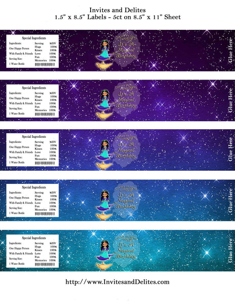 Princess Magic Carpet Genie Water Bottle Labels - Instant Printable - Invites and Delites