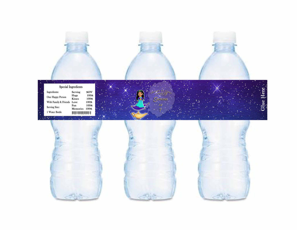 Princess Magic Carpet Genie Water Bottle Labels Personalized - Custom Printable - Invites and Delites