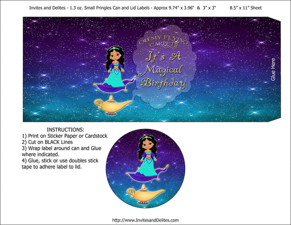 Princess Magic Carpet Genie Lamp Pringles 1.3oz Labels - Instant Download - Invites and Delites