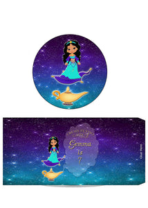 Princess Magic Carpet Genie Lamp Pringles 1.3oz Labels with Name - Custom Download - Invites and Delites
