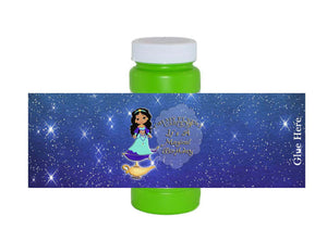 Princess Magic Carpet Genie Lamp Bubble Bottle Labels - Instant Download - Invites and Delites