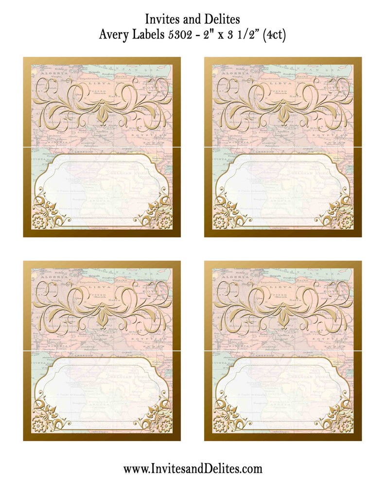Old World Food or Drink Tent Baby Shower Bridal Shower Cards - Instant Printable Download