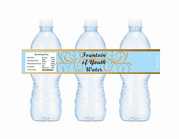 Old World Water Fountain of Youth Water Blue Baby Shower Water Bottle Labels - Instant Printable - Invites and Delites