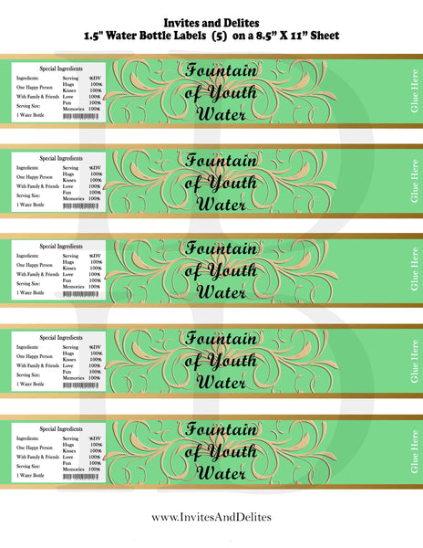 Old World Fountain of Youth Water Baby Shower or Birthday Bottle Labels Green - Instant Printable - Invites and Delites