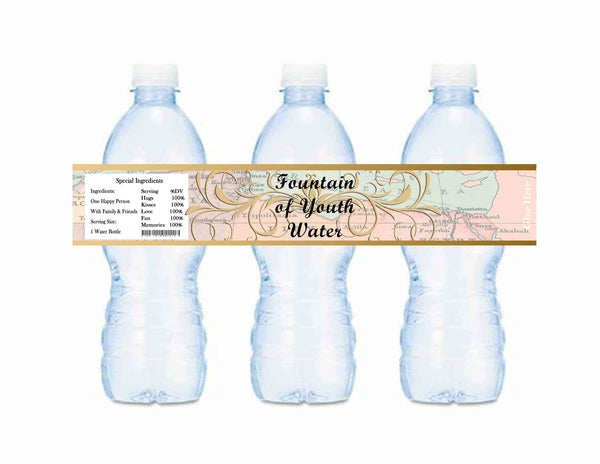 Old World Fountain of Youth Baby Shower or Birthday Bottle Labels Map - Instant Printable