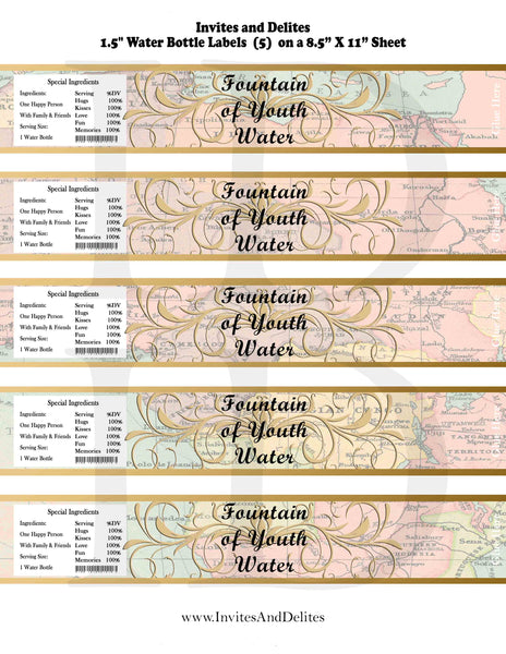 Old World Fountain of Youth Baby Shower or Birthday Bottle Labels Map - Instant Printable - Invites and Delites