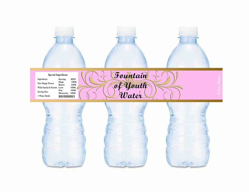 Old World Fountain of Youth Water Baby Shower or Birthday Bottle Labels Pink - Instant Printable