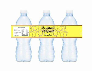 Old World Fountain of Youth Baby Shower or Birthday Bottle Labels Yellow - Instant Printable - Invites and Delites