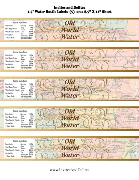 Old World Water Baby Shower or Birthday Bottle Labels - Instant Printable