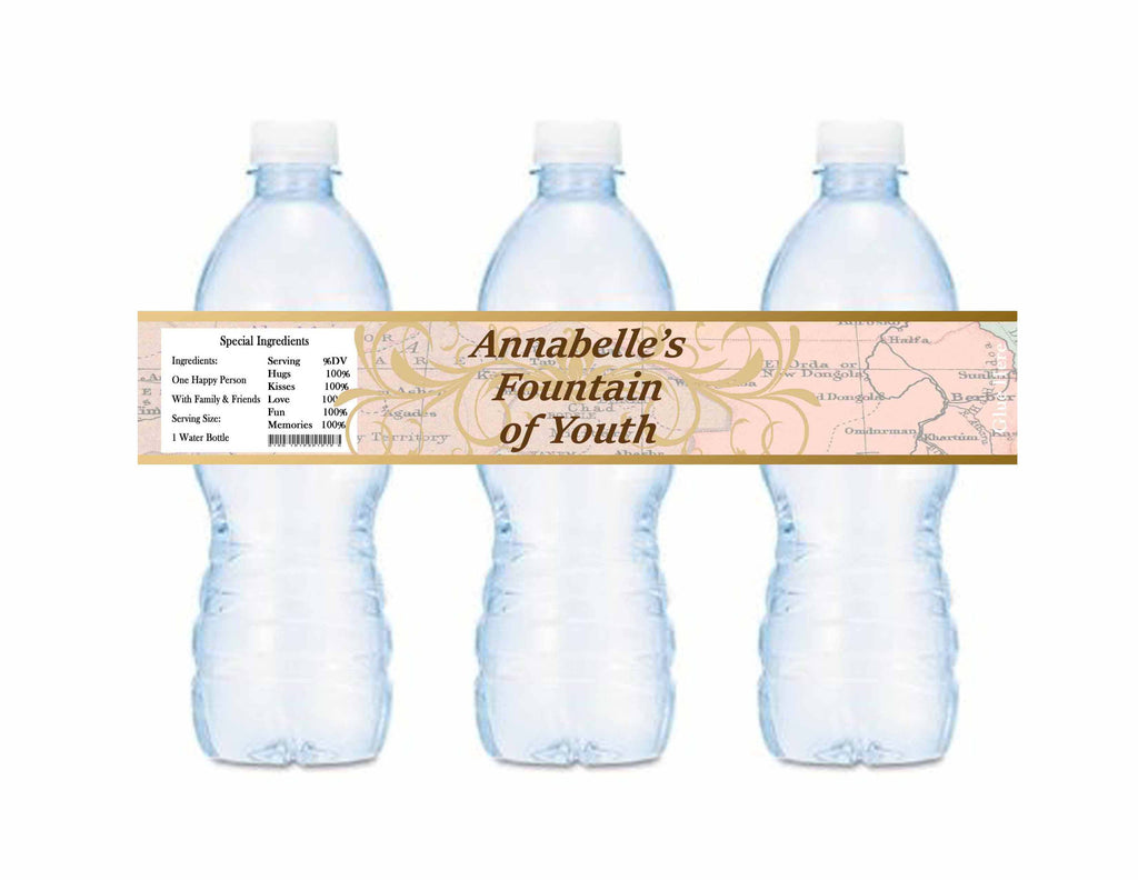Old World Fountain Of Youth Water Bottle Labels Personalized - Custom Printable - Invites and Delites