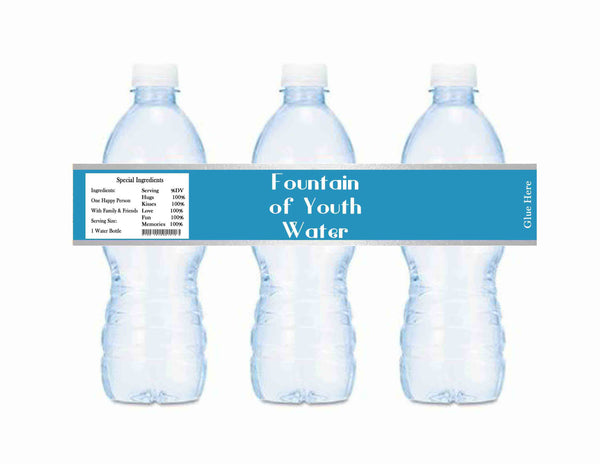 Old World Fountain of Youth Baby Shower or Birthday Bottle Labels Turquoise & Silver
