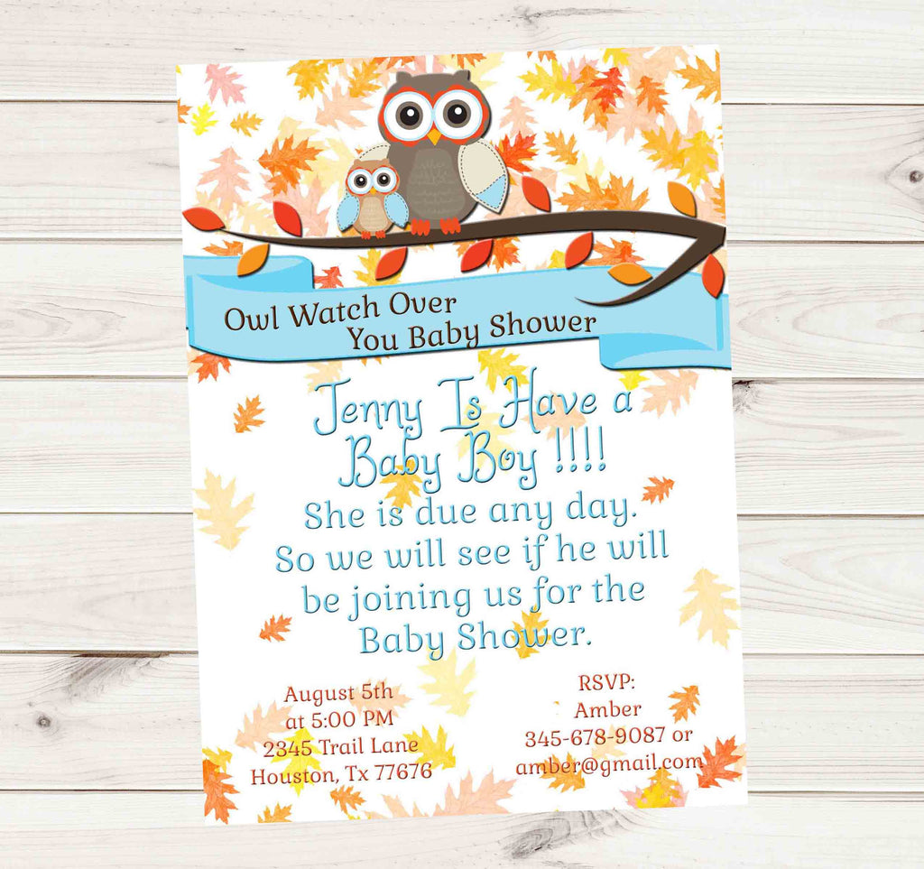 Owl Protect You Baby Shower Fall Leaves Baby Might Be Here Invitation - Custom Printable - Invites and Delites